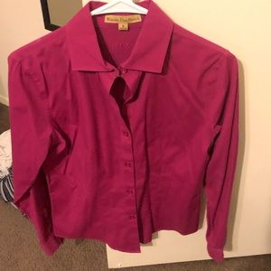 Hot Pink Button-Down Long Sleeve Size 6 Shirt